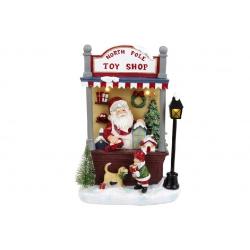 Декор новогодний Санта в магазине игрушек с LED подсветкой, 33см