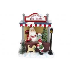 Декор новогодний Санта в магазине игрушек с LED подсветкой, 17cм