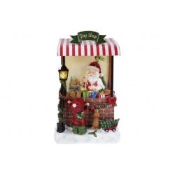 Декор новогодний Санта в магазине игрушек с LED подсветкой, 40см