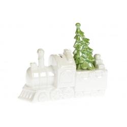 Декоративная керамическая статуэтка-копилка Паровоз, 20см, цвет - белый перламутр