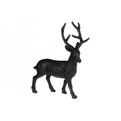 Новогодняя декоративная фигура Олень 30см, цвет - чёрный глиттер