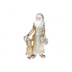 Декоративная статуэтка Санта с ребёнком, 35см, цвет - золотой