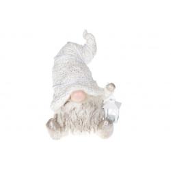 Декоративная фигура Гном с фонариком, 40.5см, цвет - белый