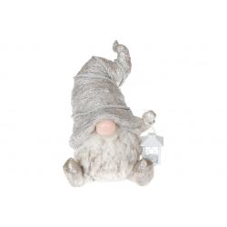 Декоративная фигура Гном с фонариком, 40.5см, цвет - шампань