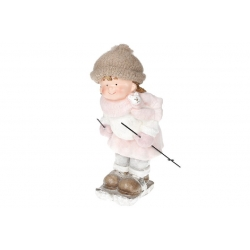Декоративная фигура Девочка на лыжах , 46см, цвет - розовый с белым