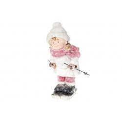 Декоративная фигура Девочка на лыжах , 46см, цвет - красный с белым