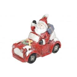 Декоративная статуэтка Санта на машине с LED-подсветкой, 18см, цвет - красный