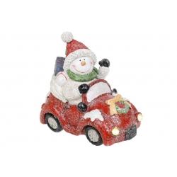 Декоративная статуэтка Снеговик на машине с LED-подсветкой, 18см, цвет - красный