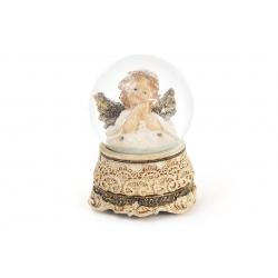 Декоративный водяной шар 14.8см Ангел с рождественской музыкой на заводном механизме