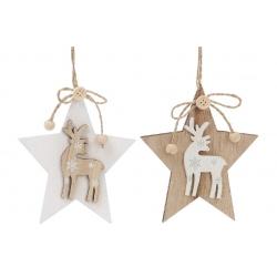 Декоративная подвеска Звезда с оленем 12см, 2 вида