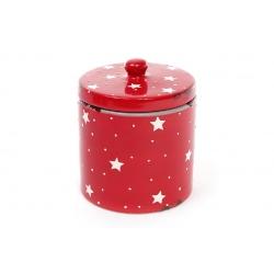 Банка керамическая 950мл с крышкой с эффектом состаренности, цвет - красный
