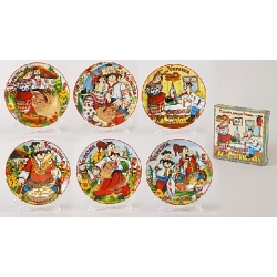Декоративная тарелка 13см Украинский сувенир с металлическим крючком в наборе с пластиковой подставкой, 6 видов