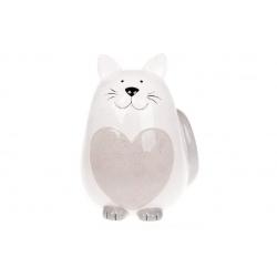 Копилка керамическая Котик, 20,5см, цвет - серый