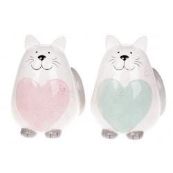 Копилка керамическая Котик, 17см, два цвета - розовый и мятный