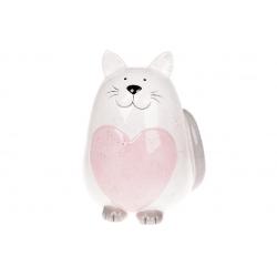 Копилка керамическая Котик, 20,5см, цвет - розовый