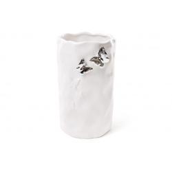 Ваза керамическая с объемным декором Бабочки в серебре 19 см, цвет - белый