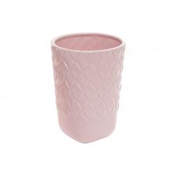 Ваза керамическая Плетение, 18см, цвет - нежно-розовый