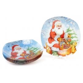 Тарелка стеклянная 20см квадратная Санта