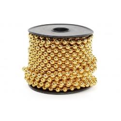 Бусы пластиковые, цвет - яркое золото, 5 мм*10м