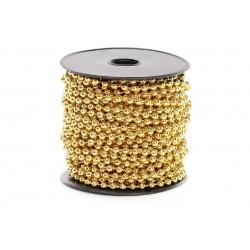 Бусы пластиковые, цвет - яркое золото, 4 мм*15м