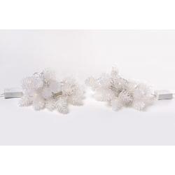 Гирлянда 2м, 30 LED (цвет- тёплый белый и холодный белый), 8 режимов, с украшением на лампочку Шишка (3*4см)