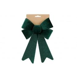 Бант декоративный из бархата 16*25см, цвет - тёмно-зелёный