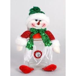 Банка для конфет с мягкой игрушкой Снеговик 15см