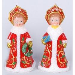 Декоративная новогодняя свеча Снегурочка 14.2см, 2 вида