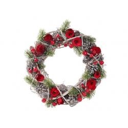 """Венок """"Розы"""" с декором из шишек и ягод"""