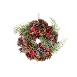 Венок новогодний 27см с декором из ягод и шишек