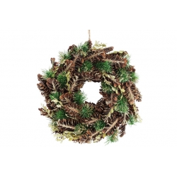 Венок новогодний 26см с декором из шишек и зеленых веток