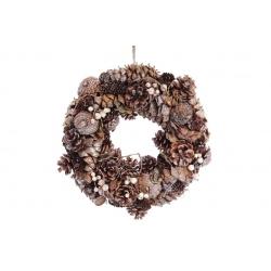 Венок новогодний 35см из шишек с декором из ягод, цвет - золотистый