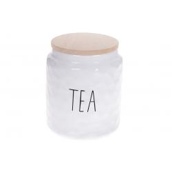 Банка керамическая для хранения с бамбуковой крышкой Чай 1500мл Bianco, цвет - белый