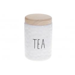 Банка керамическая для хранения с бамбуковой крышкой Чай 1200мл Bianco, цвет - белый
