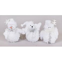 Елочное украшение Снеговик, Мишка, Санта,14см