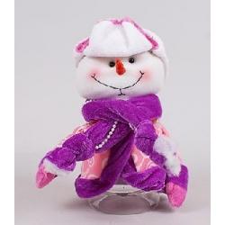 Банка для конфет с мягкой игрушкой Снеговик 20см