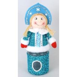 Банка для конфет с мягкой игрушкой Снегурочка 31см