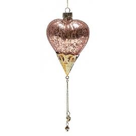 Елочное украшение сердце 21см состаренная бронза
