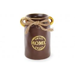 """Ваза керамическая """"Home sweet home"""" 19см, цвет - шоколад с золотом"""