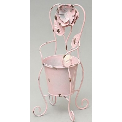 Кашпо-ваза (без декора) в форме стула розовая 33см