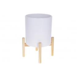 Кашпо керамическое Флора на бамбуковой подставке 37см, цвет - белый глянец