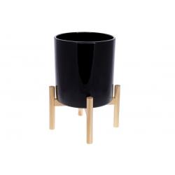 Кашпо керамическое Флора на бамбуковой подставке 37см, цвет - черный глянец