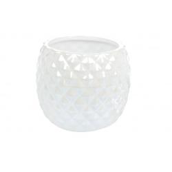 Кашпо керамическое 550мл, цвет - белый перламутр