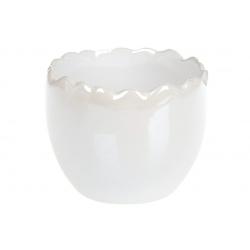 Декоративное кашпо 9см, цвет - белый перламутр