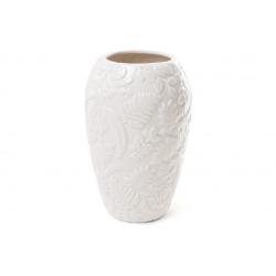 Ваза фарфоровая с объемным декором Флора, 22.5см, цвет - белый