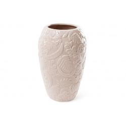 Ваза фарфоровая с объемным декором Флора, 22.5см, цвет - бежевый