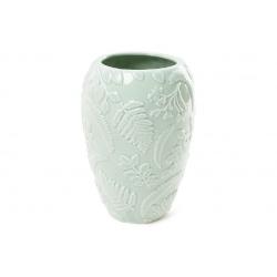 Ваза фарфоровая с объемным декором Флора, 18см, цвет - мятный