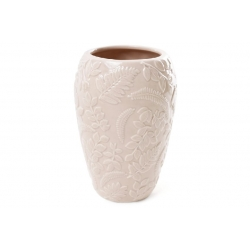 Ваза фарфоровая с объемным декором Флора, 15.5см, цвет - бежевый