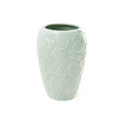 Ваза фарфоровая с объемным декором Флора, 15.5см, цвет - мятный