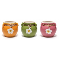 Керамическое кашпо для цветов и композиций с декором Ромашка, 3 вида